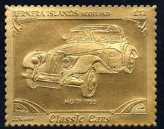 Bernera 1985 Classic Cars - 1955 MG TF \A312 value perforated & embossed in 22 carat gold foil unmounted mint