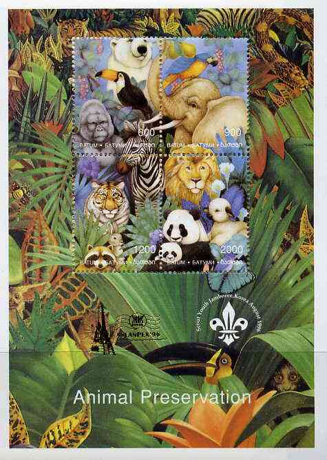 Batum 1996 Animal Preservation sheetlet containing set of 4 (with Scout Logo) overprinted for Aseanpex