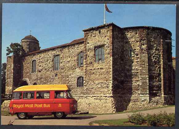Postcard of Colchester Postbus (PO picture card CKPO 1) used with illustrated last day Stour Valley Postbus cancel