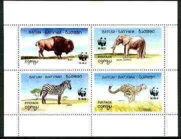 Batum 1994 WWF Wild Animals perf sheetlet containing undenominated set of 4 (believed to be proofs submitted for approval prior to determining the face values) unmounted ...