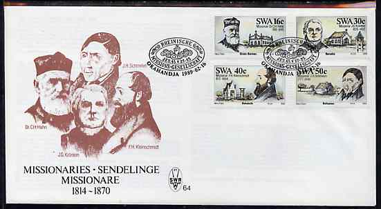 South West Africa 1989 Missionaries set of 4 on unaddressed illustrated cover with special first day cancel