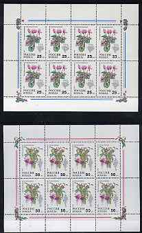 Russia 1993 Pot Plants 25r (Cyclamen) & 50r (Fuchsia) each in special sheetlet of 8 unmounted mint, see note after Mi 300