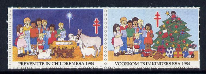 Cinderella - South Africa 1984 Prevent TB in Children labels, se-tenant pair showing Christmas scenes unmounted mint