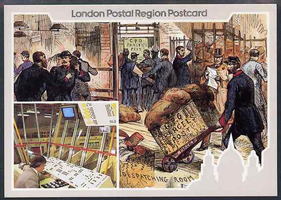 Postcard of Postal Centenary (London Postal region card LPR 4) used with illustrated Parcel Centenary cancel
