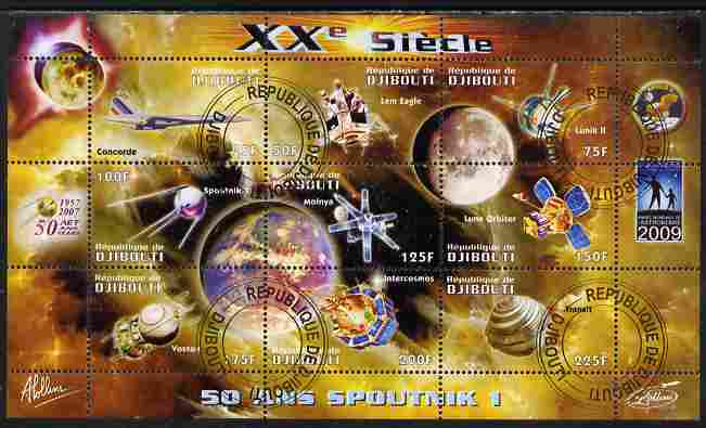 Djibouti 2009 50th Anniversary of Sputnik #03 perf sheetlet containing 9 values fine cto used