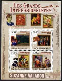 Comoro Islands 2009 Impressionists - Suzanne Valadon perf sheetlet containing 4 values unmounted mint