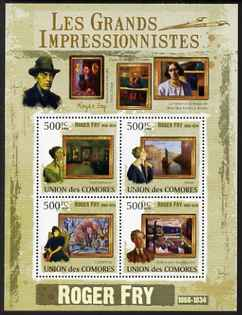 Comoro Islands 2009 Impressionists - Roger Fry perf sheetlet containing 4 values unmounted mint