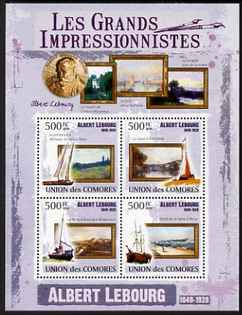Comoro Islands 2009 Impressionists - Albert Lebourg perf sheetlet containing 4 values unmounted mint