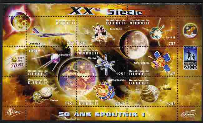 Djibouti 2009 50th Anniversary of Sputnik #03 perf sheetlet containing 9 values unmounted mint