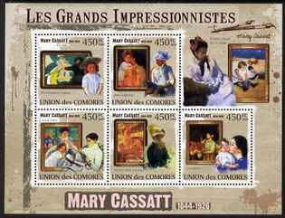 Comoro Islands 2009 Impressionists - Mary Cassatt perf sheetlet containing 5 values unmounted mint