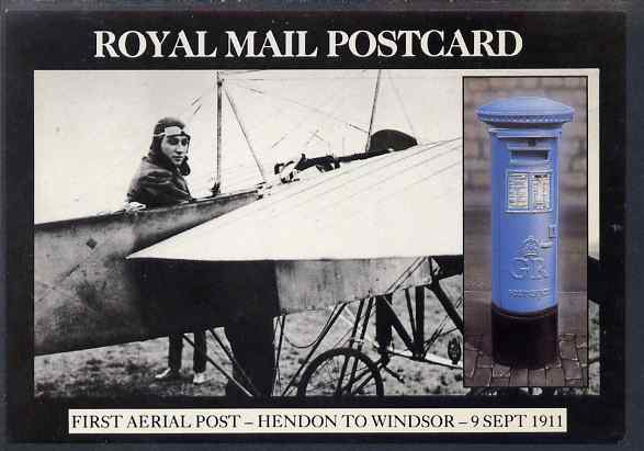 Postcard - Great Britain 1986 First Aerial Post Hendon to Windsor picture postcard (SEPR 49) used with Concorde illustrated Hounslow cancel