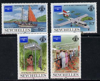 Seychelles 1986 Ameripex Stamp Exhibition set of 4 unmounted mint, SG 644-47