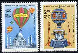 India 1983 Bicentenary of Manned Flight set of 2 (Balloons) unmounted mint SG 1104-05*
