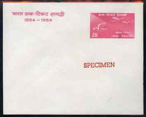 India 1954 Stamp Centenary 2as postal stationery envelope (Airmail Transport) opt'd SPECIMEN, status uncertain