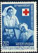 India 1970 50th Anniversary of Indian Red Cross unmounted mint, SG 625*, stamps on medical    red cross       nurses