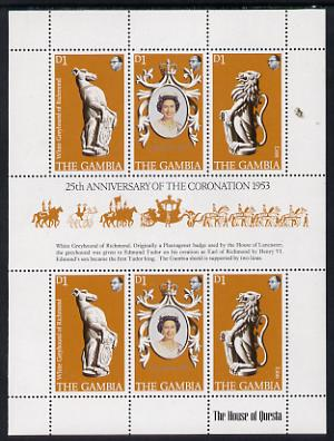 Gambia 1978 Coronation 25th Anniversary sheetlet (QEII, Lion & Greyhound) unmounted mint, SG 397a