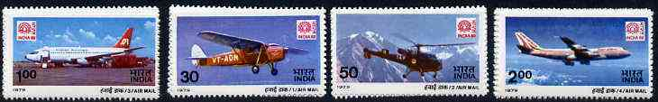 India 1979 'India 80' International Stamp Exhibition (Mail-Carrying Aircraft) set of 4 unmounted mint, SG 942-45*