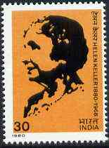 India 1980 Birth Centenary of Helen Keller (Campaigner for the Handicapped) unmounted mint SG 973*