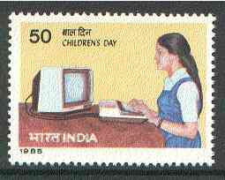 India 1985 Children's Day (Girl using Computer) unmounted mint SG 1168*
