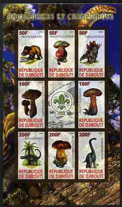Djibouti 2010 Dinosaurs & Mushrooms #2 imperf sheetlet containing 8 values plus label with Scout logo unmounted mint