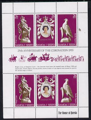 Samoa 1978 Coronation 25th Anniversary sheetlet (QEII, Pigeon & Lion) SG 508a unmounted mint
