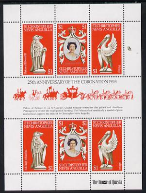 St Kitts-Nevis 1978 Coronation 25th Anniversary sheetlet (QEII, Falcon & Pelican) SG 389a unmounted mint, stamps on royalty, stamps on birds of prey, stamps on birds, stamps on coronation, stamps on arms, stamps on heraldry, stamps on falcons