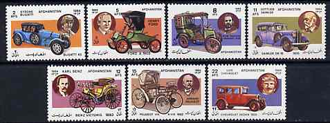 Afghanistan 1984 Motor Cars perf set of 7 unmounted mint, SG 977-83*, stamps on cars   bugatti    daimler     ford    chevrolet    peugeot    panhard    benz