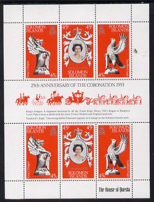 Solomon Islands 1978 Coronation 25th Anniversary sheetlet (QEII, Dragon & Sea Eagle) unmounted mint, SG 357a