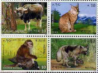Nepal 1995 'Singapore 95' International Stamp Exhibition (Gaur, Lynx, Monkey, Hyena) set of 4 unmounted mint, SG 610-13