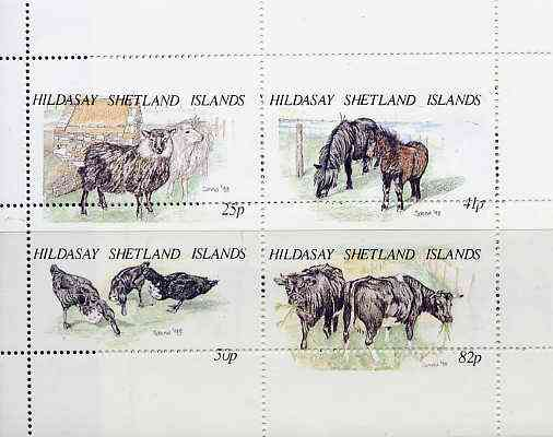 Shetland Islands 1995 Animals set of 4 with perforations dramatically misplaced, a superb variety unmounted mint