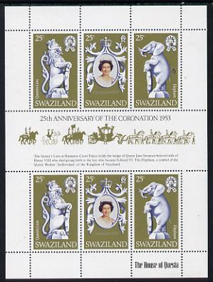 Swaziland 1978 Coronation 25th Anniversary sheetlet (QEII, Lion & Elephant) SG 293a unmounted mint
