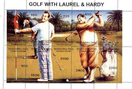 Touva 1995 Golf with Laurel & Hardy composite sheet containing complete set of 10 with misplaced perforations unmounted mint