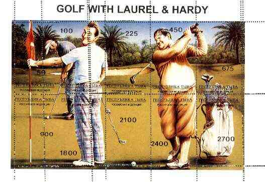 Touva 1995 Golf with Laurel & Hardy composite sheet containing complete set of 10 with perforations partly doubled, a fabulous variety unmounted mint