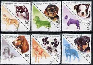 Guinea - Conakry 1997 Dogs complete triangular set of 6 (plus 6 labels) cto used*