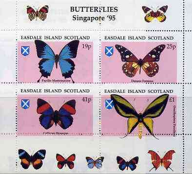 Easdale 1995 'Singapore 95' Stamp Exhibition (Butterflies) sheetlet containing perf set of 4 with misplaced perforations unmounted mint
