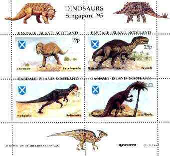 Easdale 1995 'Singapore 95' Stamp Exhibition (Dinosaurs #1 - Jurassic Period) perf sheetlet containing set of 4 with misplaced perforations unmounted mint