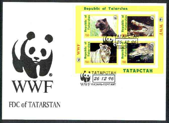 Tatarstan Republic 1996 WWF imperf sheetlet containing complete set of 4 (Big Cats & Crocodiles) on illustrated cover with first day cancel