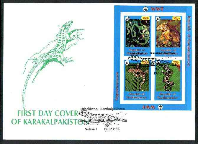 Karakalpakia Republic 1996 WWF imperf sheetlet containing complete set of 4 Reptiles on illustrated cover with first day cancel