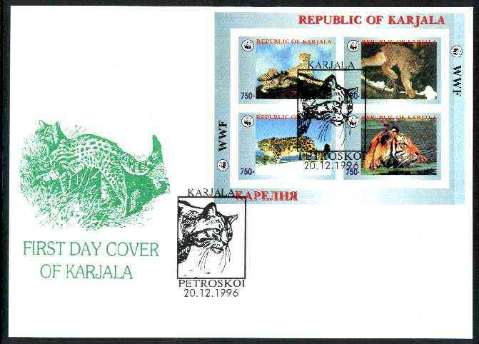 Karjala Republic 1996 WWF imperf sheetlet containing complete set of 4 Animals (Big Cats) on illustrated cover with first day cancel
