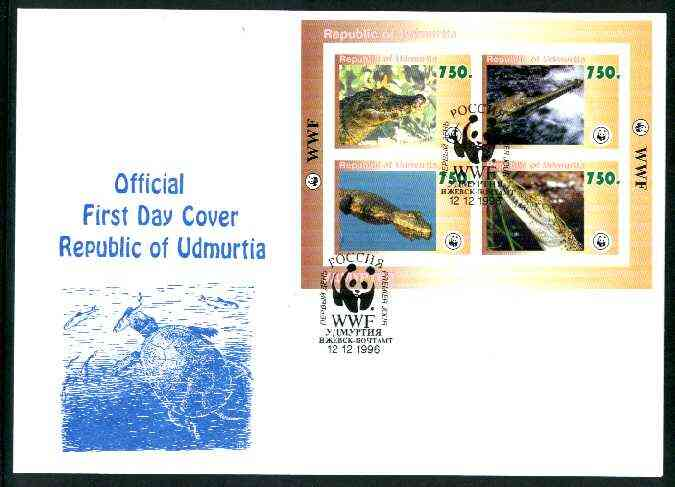 Udmurtia Republic 1996 WWF imperf sheetlet containing complete set of 4 Crocodiles on illustrated cover with first day cancel