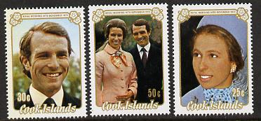 Cook Islands 1973 Royal Wedding perf set of 3 unmounted mint, SG 450-2