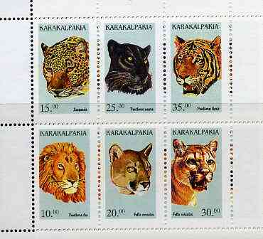 Karakalpakia Republic 1997 Big Cats #2 perf sheetlet containing complete set of 6 unmounted mint, stamps on animals    cats