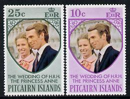 Pitcairn Islands 1973 Royal Wedding set of 2 (SG 131-2) unmounted mint