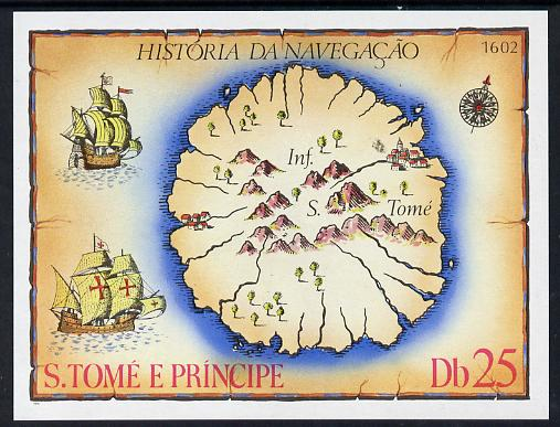 St Thomas & Prince Islands 1979 History of Navigation imperf m/sheet unmounted mint, Mi BL 38
