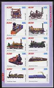 Altaj Republic 1996 Railways imperf sheetlet containing complete set of 10 unmounted mint