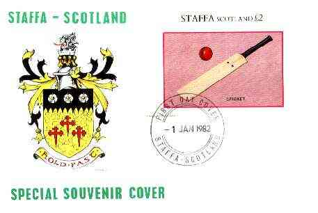 Staffa 1982 Sports Accessories (Cricket Bat) imperf deluxe sheet (\A32 value) on illustrated cover with first day cancellation