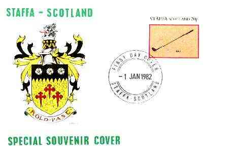 Staffa 1982 Sports Accessories 20p (Golf) perf single on illustrated cover with first day cancellation