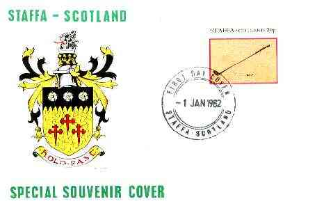 Staffa 1982 Sports Accessories 20p (Golf) imperf single on illustrated cover with first day cancellation