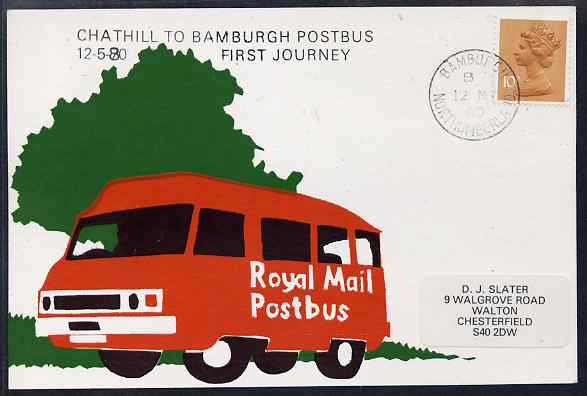 Postcard of Royal Mail Postbus (privately produced) used for first journey of Chathill to Bamburgh Service (handstamp with 1970 date error corrected to 1980)