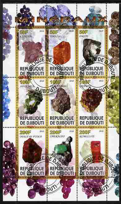 Djibouti 2010 Minerals perf sheetlet containing 9 values fine cto used